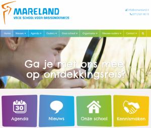 Schermafbeelding nieuwe website Mareland